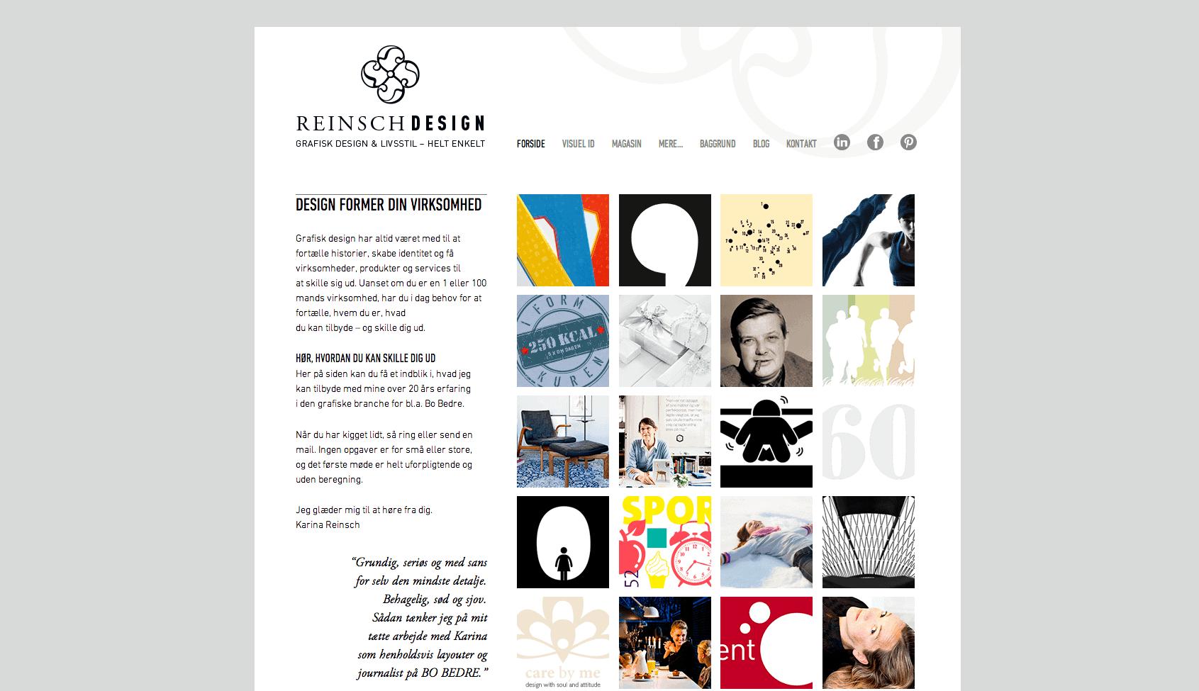 Hjemmeside Til Reinsch Design Af Bolette Obbekær