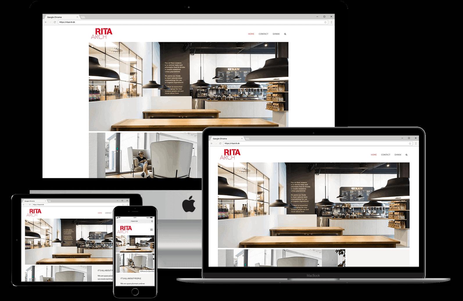 Hjemmeside til RITA indretningsarkitekter fra obbekaer.dk