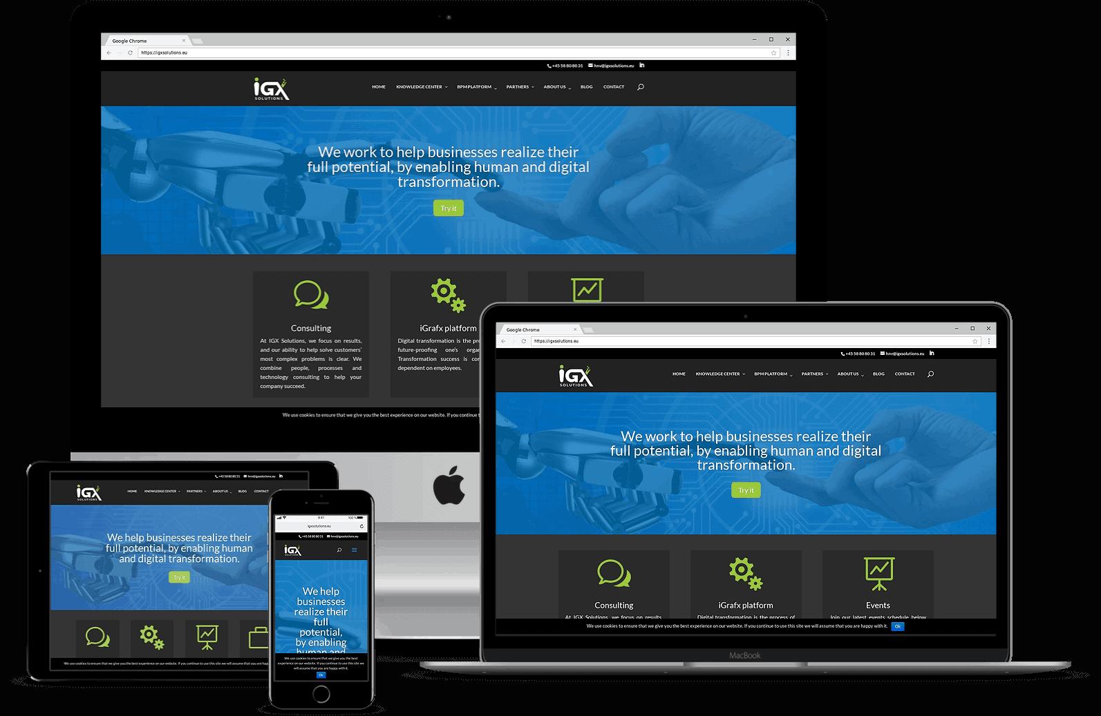 Hjemmeside til IGX Solutions fra obbekaer.dk